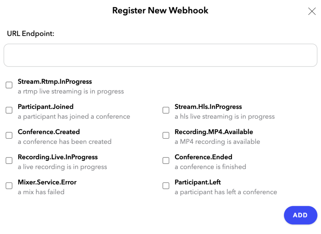 Register New Webhook in Dolby.io Dashboard